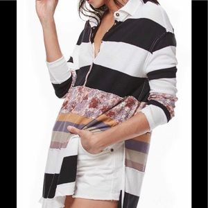 Free people floral and striped long sleeve tunic